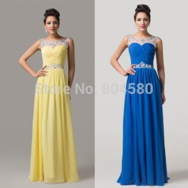 Hot! Sleeveless Backless Chiffon Maxi Long Formal dress Evening prom Gown sexy party dresses 2015 CL6115 (AL12)