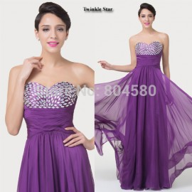 Impress Queen  Backless Floor Length Formal Evening dress Beading Long Prom Party Gown Women Chiffon Casual dresses CL6276