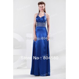 In Stock Cheap Beaded Empire Formal Prom Gown halter Evening Dresses  Blue Celebrity dress CL4406
