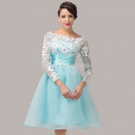 In Stock Latest Knee Length Backless Party dress Long Sleeve Blue Organza Evening Prom dresses Formal Gowns Women Ball CL6128