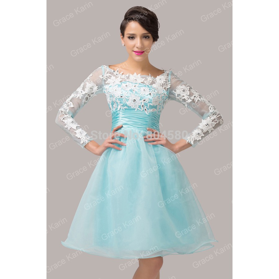 Stock Latest Knee Length Backless Party dress Long Sleeve Blue ...