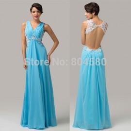 In Stock Modern Prom Dresses V neck Sleeveless Sequins Crystal Chiffon Stunning Floor-length Formal evening dress  CL6114