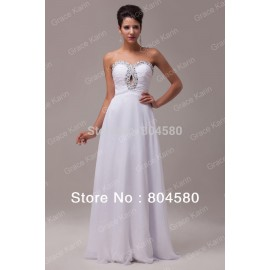 In StockGrace Karin  Strapless Floor Length Evening Party Dress Women Chiffon prom Gown Long Celebrity dresses CL6037