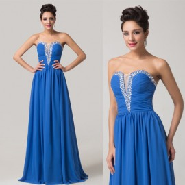 Lace Up Back Long Prom Dresses Floor length Gowns Royal Blue Chiffon Evening Dress 2015 Elegant Party Gown CL6154