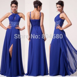 Lady Charming Sexy Shinning Stock Split Front Chiffon Prom Dresses Long Party Gown Evening Dress blue CL6023
