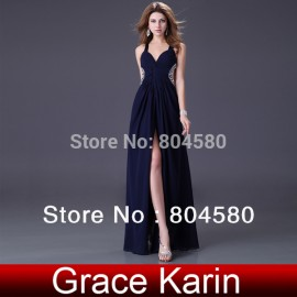 Latest DesignElegant Blue and Purple Long Prom Dresses sexy Chiffon evening party gown bandage dress in stock CL4100