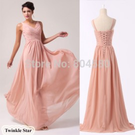 Latest DesignsGrace karin Long Chiffon Cheap Evening Dress  Formal Prom dresses Lace-up Back Evening gown CL6010