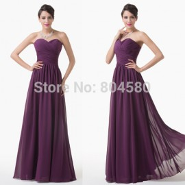 Latest High Quality Grace Karin Sweetheart A Line Floor Length Long Chiffon purple Evening dress Stock Formal Party Gown CL6273