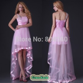 Latest dress designs One Shoulder Tulle Party Gown Short Front Long Back Evening Dresses Celebrity Prom Ball CL3829