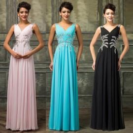 Latest Design Blue Ruffle Chiffon Long Evening Dresses Beaded Formal Prom Gowns Winter Dinner Party dress robe de soiree D7575