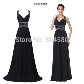 Modest In Stock Grace Karin Sexy Beading Long Black Prom dresses Maxi Celebrity Bandage dress Women Evening Party Gown CL6279