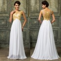 Modest White&Gold Lace Appliques Celebrity Dresses Floor Length Formal Evening Dress 2015 Long Engagement Prom Party Gown D6267