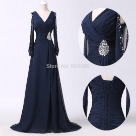 Navy Blue Plus Size   Fashion Sexy Women V Neck Popular Casual Bandage Dress Formal Long Prom dresses Half Sleeve CL6220