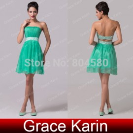 Grace Karion Off shoulder Knee Length Green Chiffon Cocktail party Dress Short prom Dresses Gown  CL6105 (AL12)