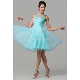 Plus Size Tank Ball Gown Blue Tulle Women Short Evening Party dresses Formal Gowns Prom dress Beading CL6151