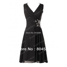 A-line V-neck Knee-length Homecoming Prom dresses Chiffon Ball party Gown women Short Evening Dress formal CL3440