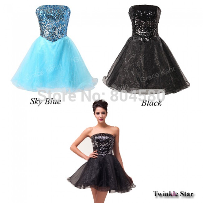 Ladies' Knee-Length Short Ball Gown Dress Women Cocktail Party Dresses Prom Black and Blue CL6054