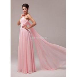 Lady Charming Sexy Shinning One-shoulder Floor Length Chiffon Celebrity dresses Beautiful evening dress CL6006