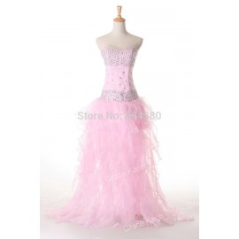 Sexy Women Elegant Strapless Ball Gown Organza Party Evening Dresses  Fashion CL4656