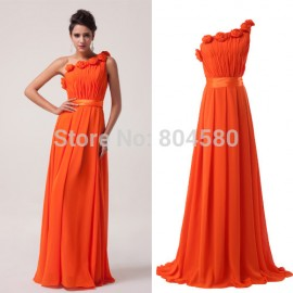 Stock One shoulder Chiffon Formal Dresses Long party prom Gown Fashion Evening Dress CL6020