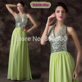 Design A Line Floor Length sequins Deep V neck Halter Open Back Sexy Evening dress Long Formal Prom Party Gown CL6200