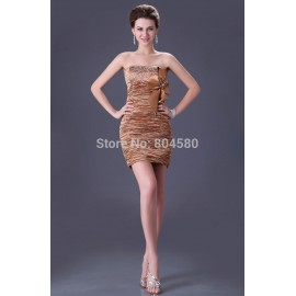 Fashion Gold Stretch Satin Bodycon dress Short Bandage Prom Party Evening Dresses  CL3136