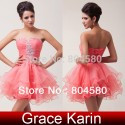 Fashion Ladies Stock Strapless Voile Ball Prom Gown Short Cocktail Party Dress 8 Size CL6077