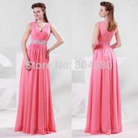 Floor-Length Deep V neck design Sleeveless Long Banquets Evening dresses sexy Chiffon Party Gown Celebrity Dress  CL4431
