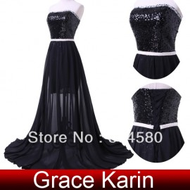 Grace karin Fashion Black color Beading Women's prom dresses design Club Evening Party Dress CL4408