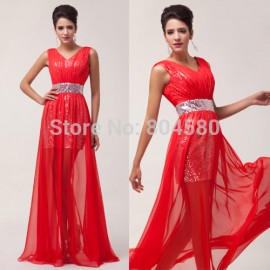 Lady Deep V Neck Chiffon+Sequins Floor Length Long Party Dress special occasion Formal Evening Dresses Red Prom Gown CL6004