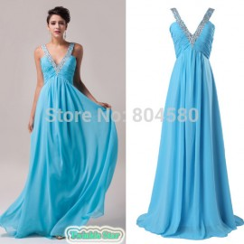 Stock Chiffon Celebrity dresses Deep V Neck Princess Floor-Length Evening Prom Dress With Beading Women party Gown CL6040