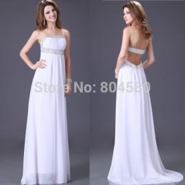 Stunning Strapless Beach Long evening dresses Women Celebrity dress White Prom Gown CL2426