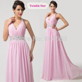 Women Long Design Chiffon Pleated Sexy Bandage dress Celebrity Party Evening dresses Summer Beach Gowns Formal Prom CL6111