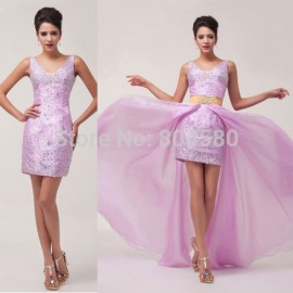 design Short Front Long Back prom Gown Formal Evening Dresses with Detachable dress CL6038