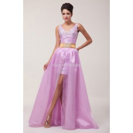 designGrace Karin Beaded Lady Dress Front Short Long Back Satin Long Evening Prom Dress Party Gown Formal dresses CL6038