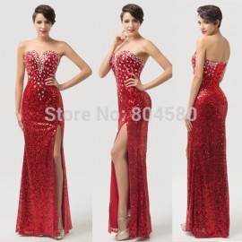 Grace karin Strapless Split Ball Party Gown Sequins Red Carpet dresses Long prom dress Formal evening gowns CL6102