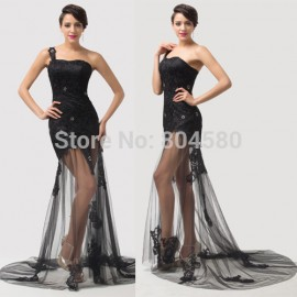 New! Grace karin One Shoulder Floor Length Black Evening dress lace long Prom party Gown 2015 CL6100