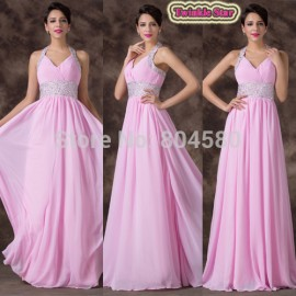 Real Images V Neck One Shoulder Floor Length Pink Long Chiffon Crystal Formal Evening Dresses  Women Party Gown CL6239