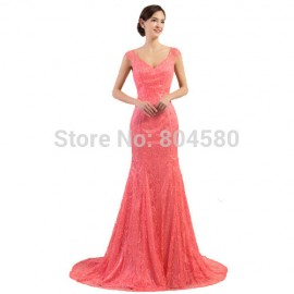 New Style Cap Sleeve Special Occasion Lace Prom dresses Mermaid Long Evening Party Gown Women Backless Engagement dress CL7510