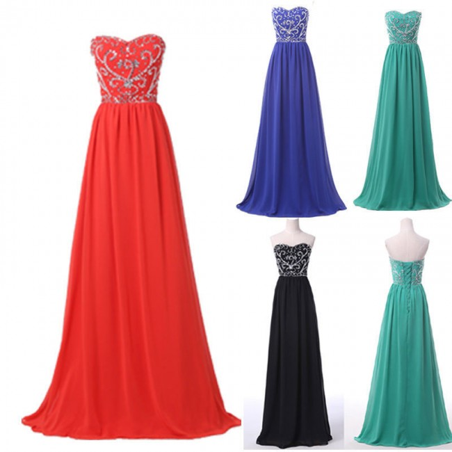 Nice Women Summer Plus Size Empire Prom Dress 2015 Long Evening Dresses Stones Chiffon Ball Casual Party Gown Sleeveless D6050