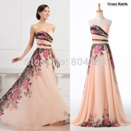On Sale  Sexy Winter Floor Length Chiffon Prom Gown Red Carpet Flower Print Long Vintage Evening dresses Formal Party CL7503
