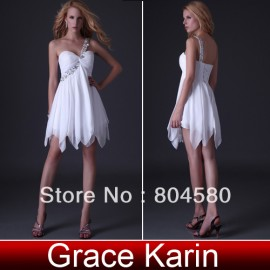 On Sale  One Shoulder Formal Prom Gown Knee Length Short Party Dress Women Cocktail dresses CL3185