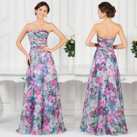 On Sale Red Carpet A Line Flower print Formal Prom dress with Pattern Long Evening Party Gown Women Vintage dresses  CL7509
