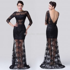 Popular Design Floor Length Mermaid Lace Appliques See Through 2 piece Bandage dress Women Sexy Party Evening dresses CL6227