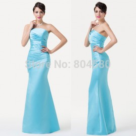 Popular Sexy Women Sheath Blue Mermaid Evening Prom dress Formal Celebrity Party Gown  Bandage dress Long CL6268