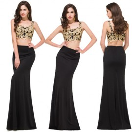 Popular Summer Gold Appliques Black 2 Two piece Bandage Prom dresses Sleeveless Evening Dress Formal 2015 Long Party Gowns C8917