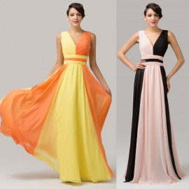 Pretty Best Two Shoulder Ombre Pattern Print Prom Dresses Party 2015 Ball Beach Chiffon Long Evening Dress Formal Rose CL6172