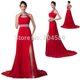 Princess Halter Crystal Beads Split Mermaid Evening dress Elegant Women Long Maxi Party Gown Red Prom dresses 2015 Backless 6248