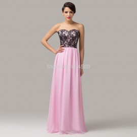 Ready To Ship Sexy Strapless Lace Floor Length Chiffon Pink Prom dress Long Formal Gowns Women Evening Party dresses CL6142