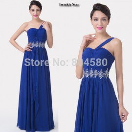 Real Imagine Grace Karin One Shoulder Chiffon Beaded Evening dress  Long Blue prom Dresses Party Formal Gowns CL6185